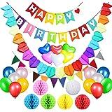 Acetek Décorations Anniversaire Articles de fête, Drapeaux de bannière joyeux anniversaire, 6 boules de pompon de papier de soie coloré, 18 ballons, guirlande de coeur et Bunting pour anniversaire, Baby Shower, mariage