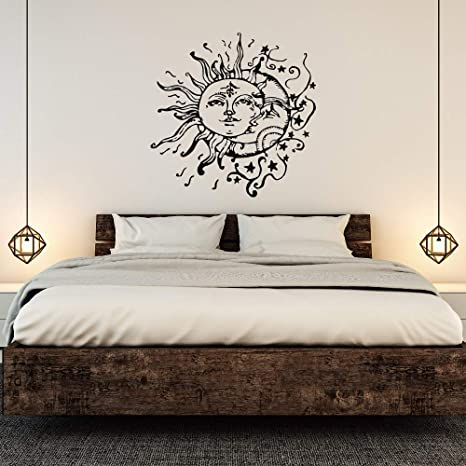 Amazon.com: Sol y Luna pared Decal- Sol, luna y estrellas ...