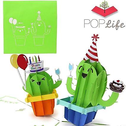 Amazon.com: Poplife verde Cactus 3d Pop Up Tarjeta de ...