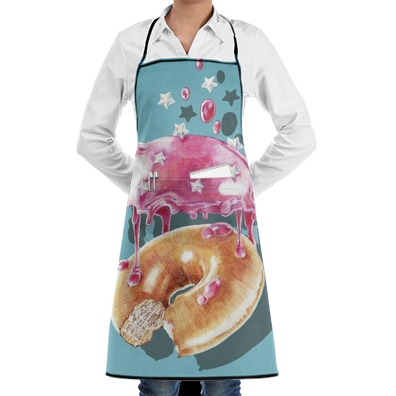 shuangrendeカスタム抽象Howl調節可能なポケット付き料理キッチンよだれかけエプロンレディースメンズのシェフ One Size ホワイト  Sweet Doughnut18 B07FZ6Q4TF