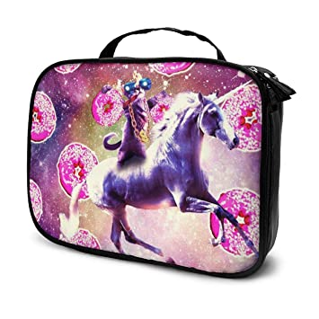 Thug Space Cat on Unicorn Portable Travel Toiletry Bag ...