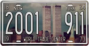 ERLOOD World Trade Center 911 Vintage Auto License Plate Tin Sign Embossed Tag Size 6 X 12