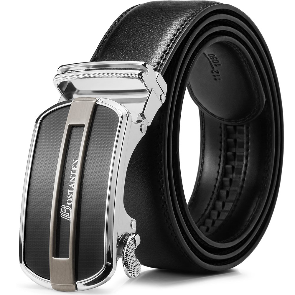 BOSTANTEN Men's Genuine Leather Ratchet Dress Belt With Automatic Buckle