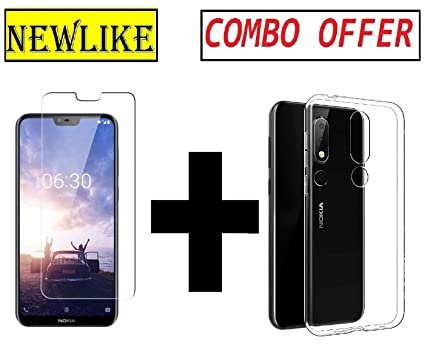 hot sale online aed54 8b867 Newlike Nokia 6.1 Plus Back Cover Transparent + Tempered Glass Combo Pack