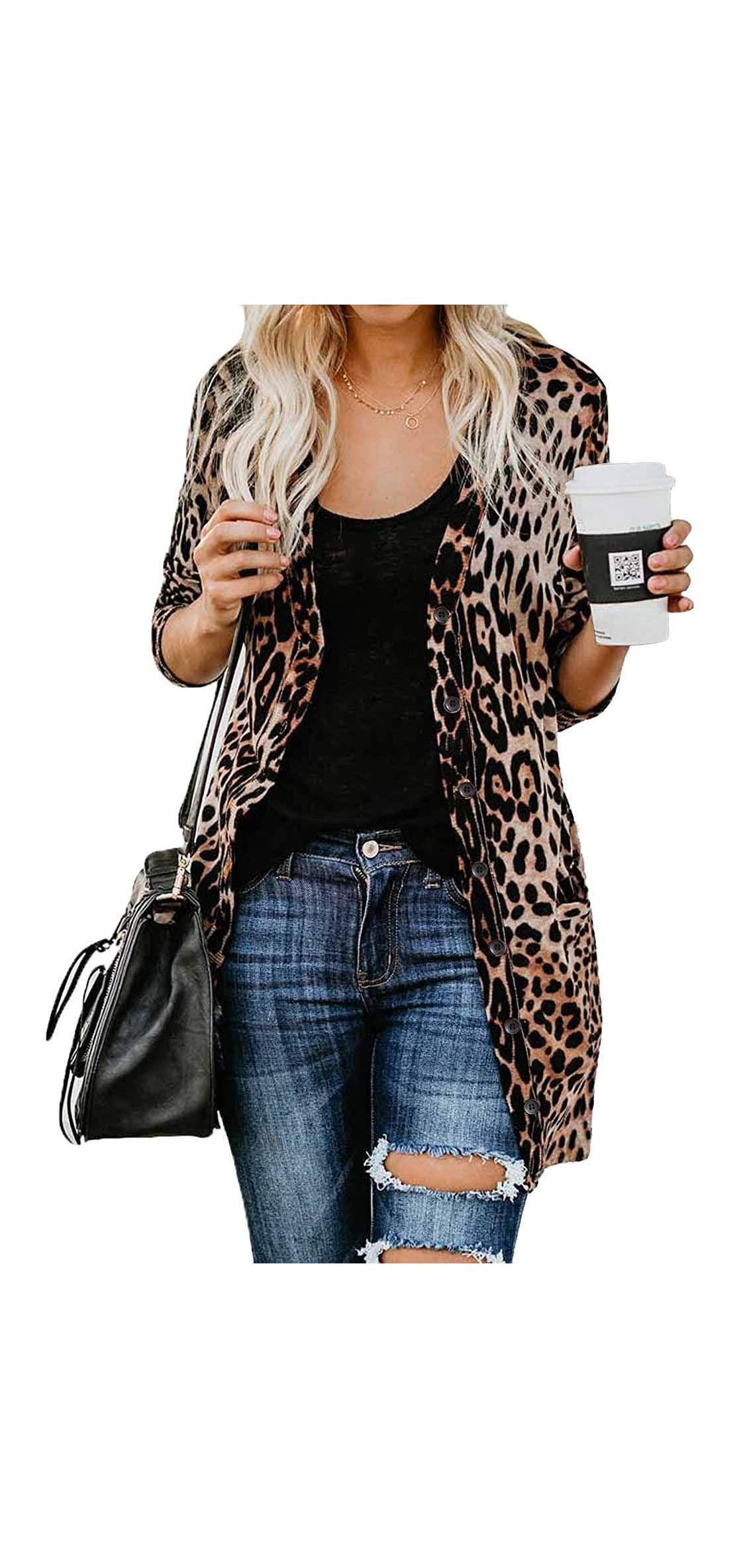 Leopard Prints Button Down Open Front Lightweight Shirt