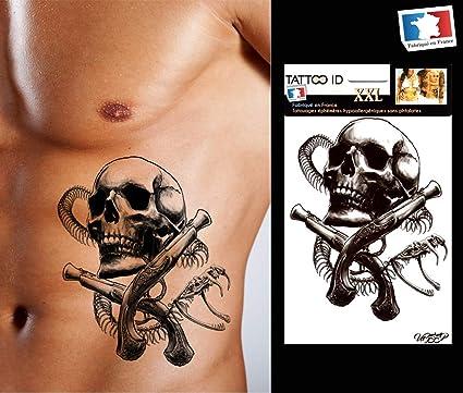 Tatouage Ephemere Temporaire Homme Skull1 Tête De Mort Serpent Noir