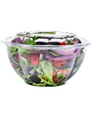 Neverwashadish Salad To-Go Containers, Clear Plastic Disposable Salad Bowls with Lids (32 oz, 50 Pack)