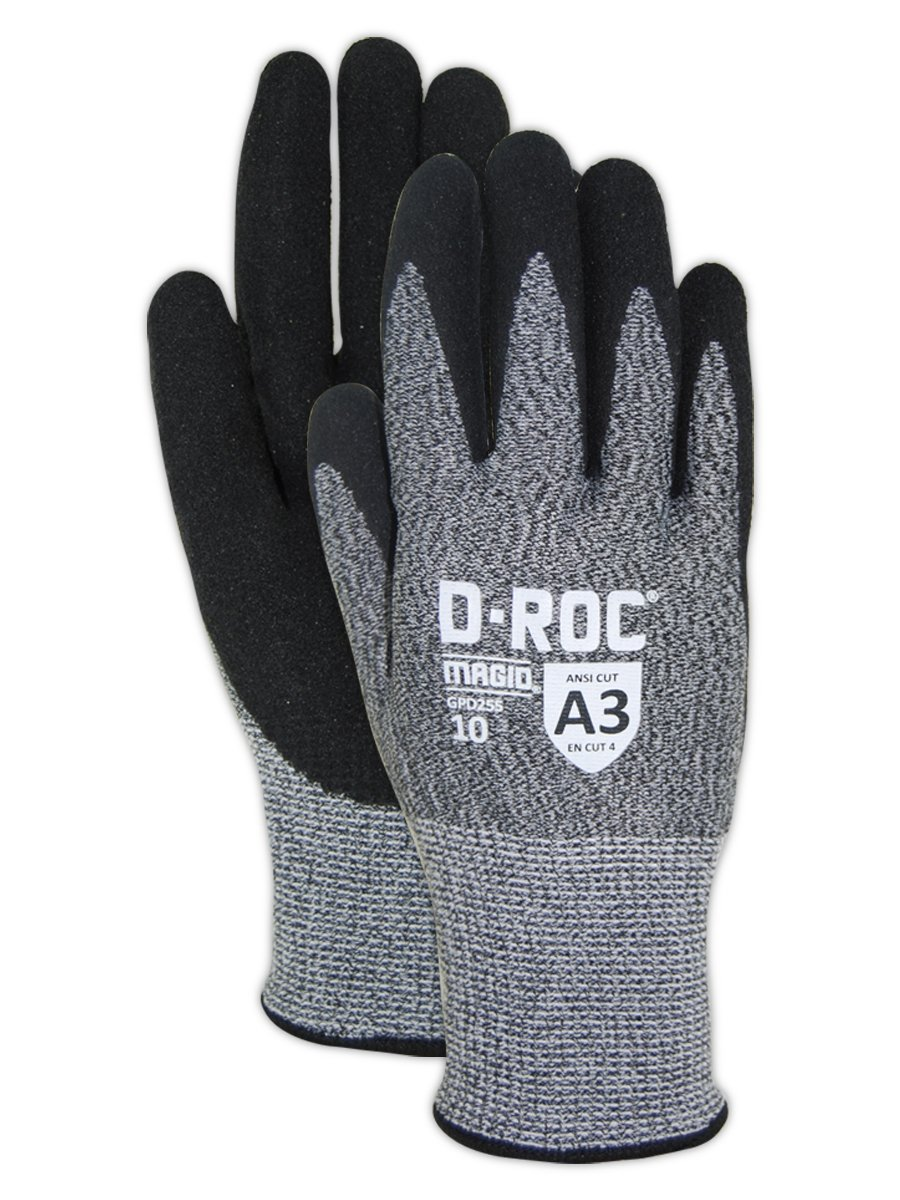 Magid Glove & Safety GPD255-12 Magid D-ROC HPPE Blended NitriX Grip Technology Palm Coated Work Gloves Cut Level A3