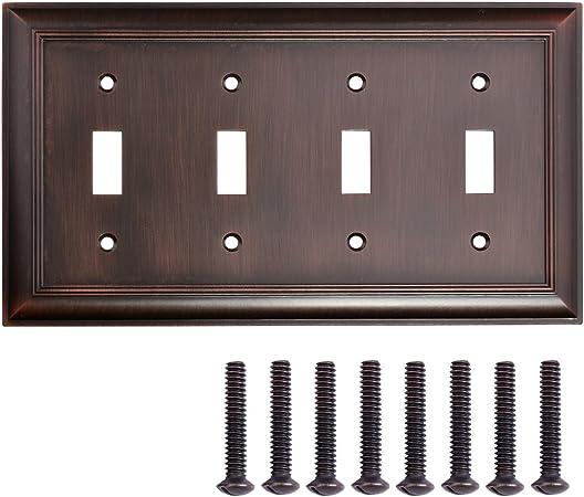 Amazon Basics Quadruple Toggle Light Switch Wall Plate, Oil Rubbed Bronze, 1-Pack