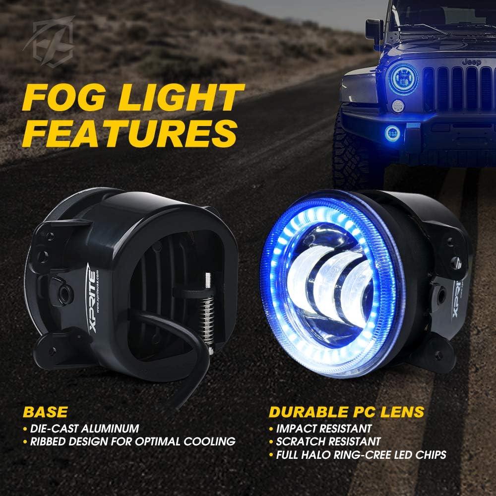 Xprite 7 Inch 90W CREE LED Headlights /& 4 60W Blue Fog Lights Combo w//Blue Halo for 2007-2018 Jeep Wrangler JK