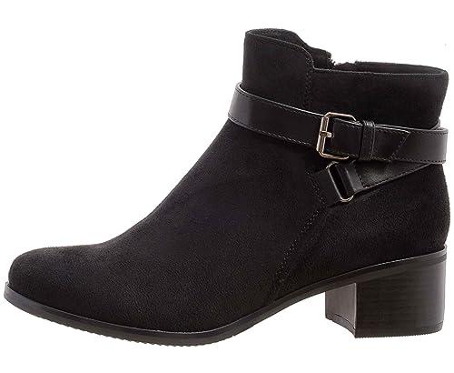 Sopily Botines de moda para mujer - Botín - Botas chelsea - Cremallera de gamuza - Hebilla - Bloque de tacón 4 cm: Amazon.es: Zapatos y complementos