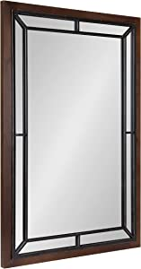 Kate and Laurel Audubon Farmhouse Wall Mirror, 24 x 36, Rustic Brown, Decorative Rectangle Mirror for Wall