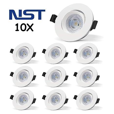 Focos Empotrables en Techo, 10x Ojos de Buey incluye Bombillas GU10 LED Blanco Frio Luz
