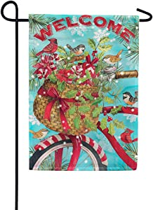Christmas Bike - Welcome - GARDEN Size, 12 Inch X 18 Inch, Decorative Double Sided Flag Printed in USA - Copyright and Licensed, Trademarked by Custom Décor Inc.