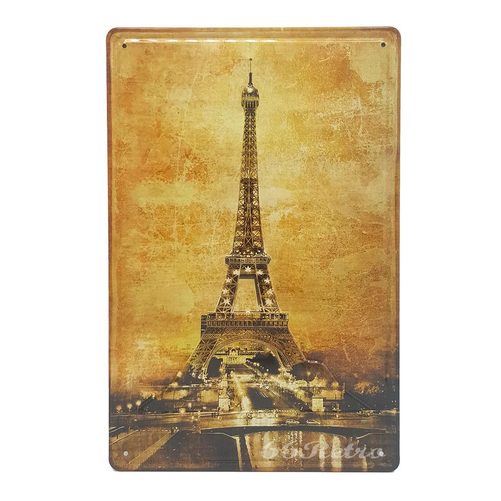 Amazon.com: The Vintage Eiffel Tower, Retro Embossed Metal Tin Sign ...