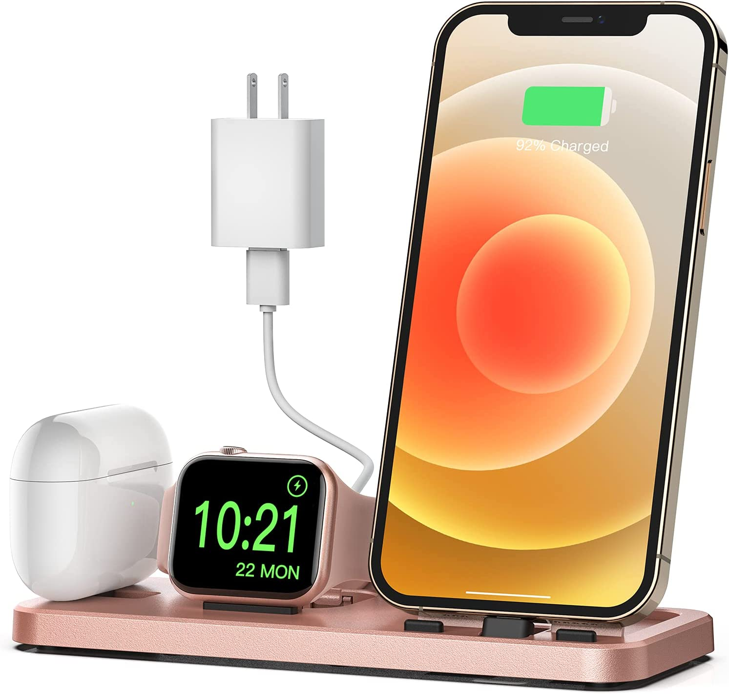 CEREECOO Portable 3 in 1 Charging Station for Apple Products Foldable Charger Stand for iWatch 6/SE/5/4/3/2/1 Charging Stand for iPhone AirPods Pro/2/1 Charging Dock Holder(with 10W Adapter)-Rose Gold