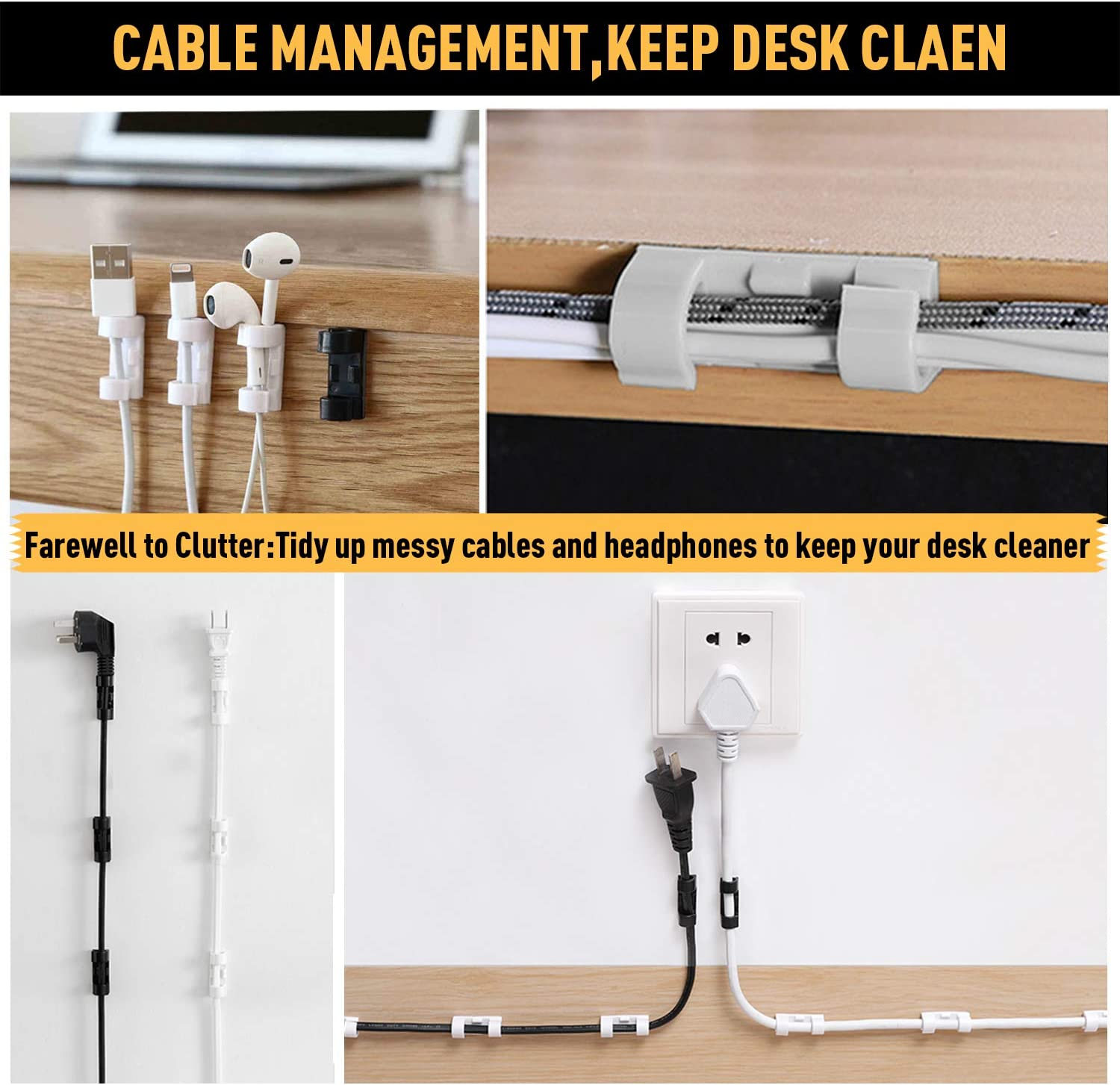 Black 20 Pcs XIAOXI Cable Management TV PC Wire Holder Sticky Tidy and Organise Cords and Wires Cable Clips with Strong Self-Adhesive