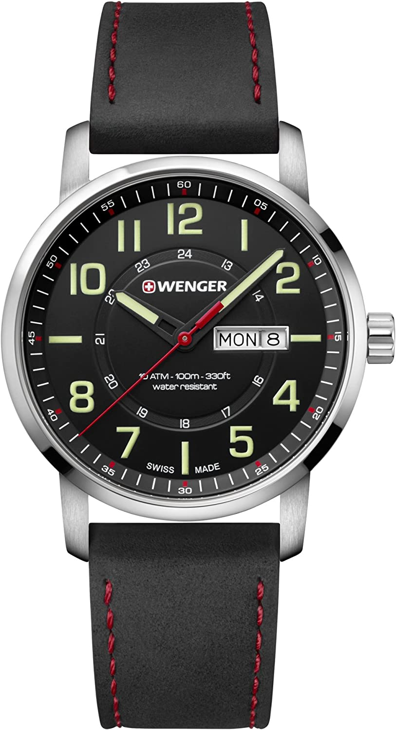 Wenger Men s Sport Stainless Steel Swiss-Quartz Watch with Leather Strap, Black, 22 Model 01.1541.101