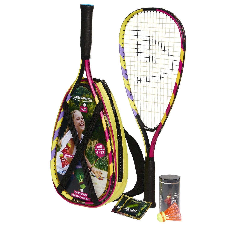 Speedminton Junior Set - Original Speed Badminton / crossminton set para niños incluye 2 raquetas para niño, 2 Gallitos para diversion FUN y una maleta 400043