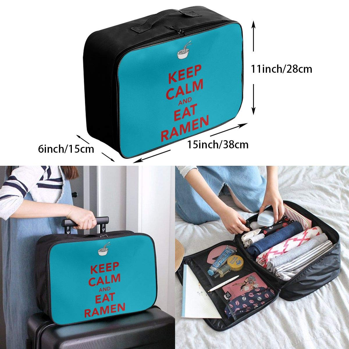 Travel Luggage Duffle Bag Lightweight Portable Handbag Ramen Noodles Large Capacity Waterproof Foldable Storage Tote