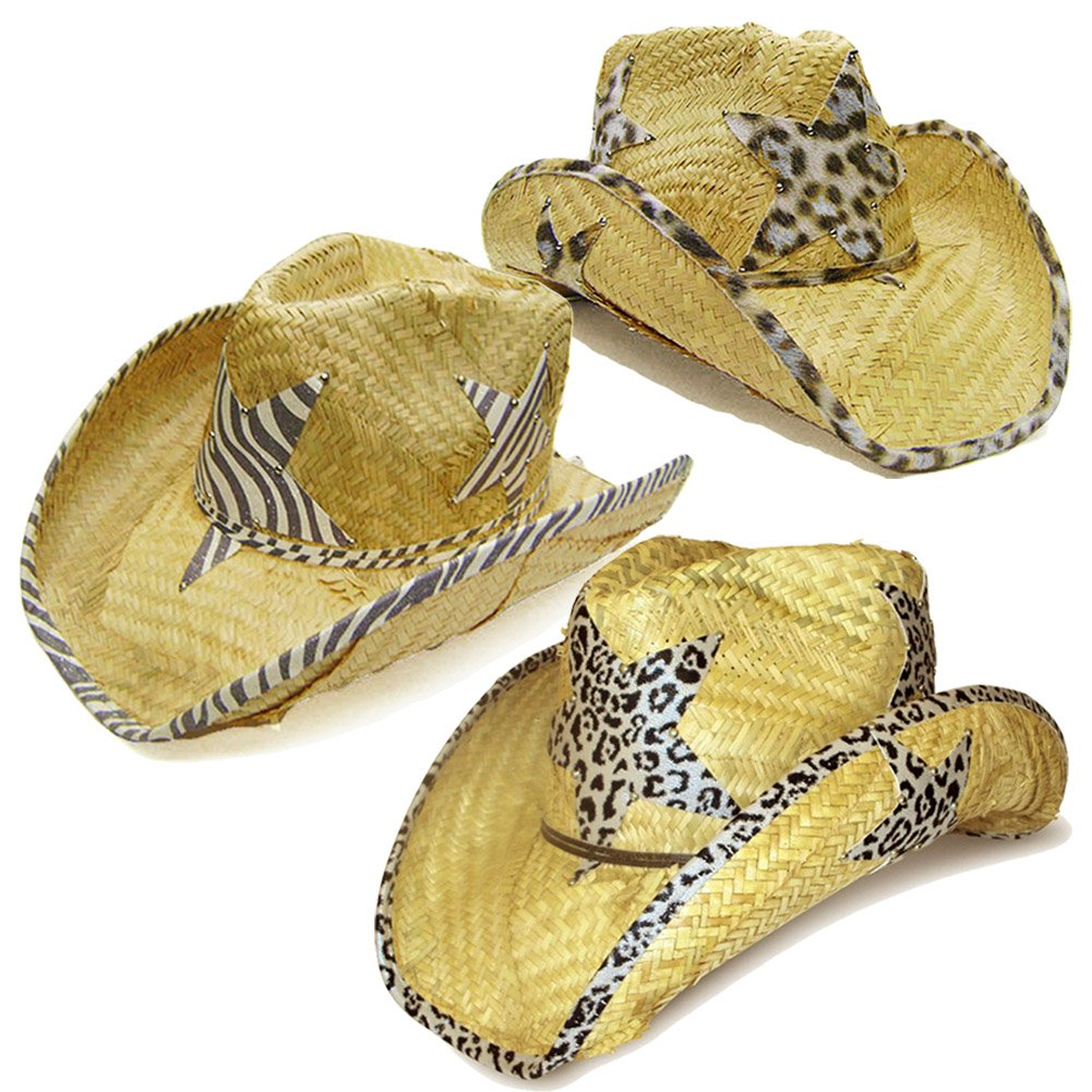 Modestone Value Pack 12 X Light Party Star Animal Print Straw Cowboy Hats Beige