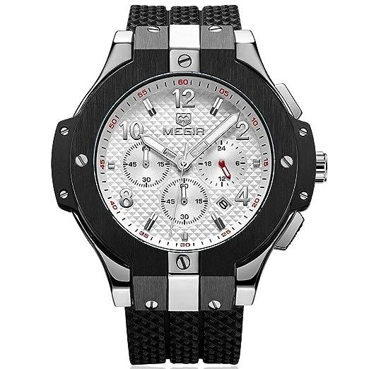 Relojes para Hombre Blanco y Negro, Reloj Grandes esferas, Relojes Militar de Lujo de