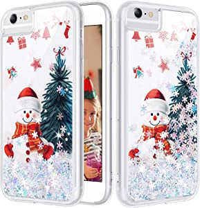Caka iPhone 8 Plus Case, iPhone 6 Plus 6S Plus 7 Plus 8 Plus Glitter Case Christmas Snowflake Flowing Liquid Bling Sparkle Soft TPU Case for iPhone 6 Plus 6S Plus 7 Plus 8 Plus (5.5 inch) (Snowman)