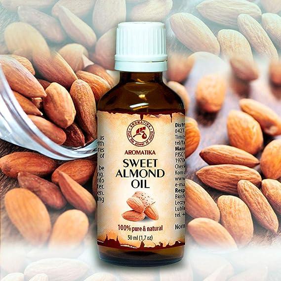 Aceite de Almendras Dulces 100% Puro & Natural 50ml - Prunus Amygdalus - Italia - Cuidado para Cara - Pelo - para Masaje - Cuidado Corporal - Aceite de ...