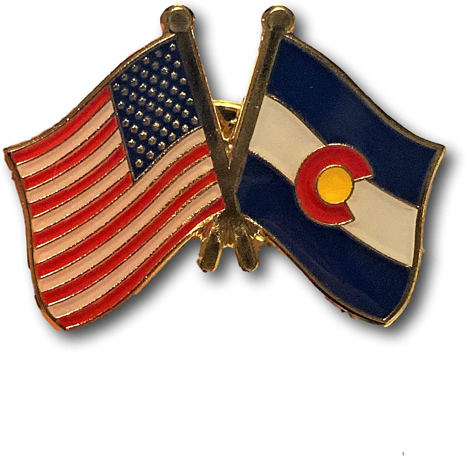 Backwoods Barnaby USA American States Crossed Friendship Flags Lapel Pin