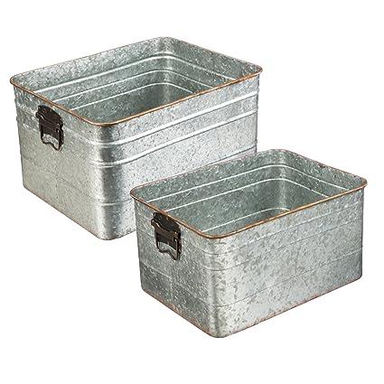 Cape Craftsmen Antique Spotten Galvanized Metal Outdoor Safe Storage Basin  Containers, Set Of 2