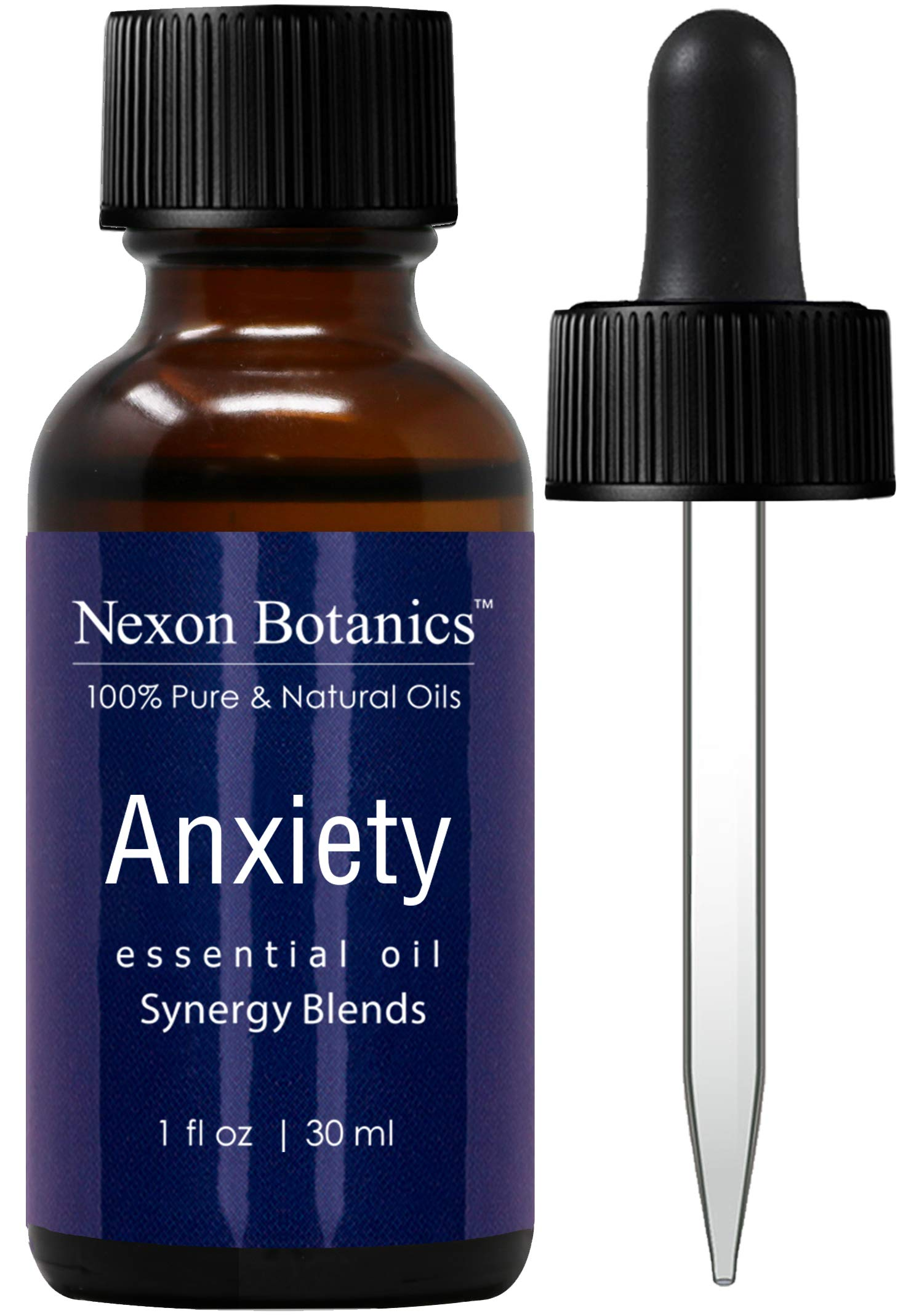 Anxiety Essential Oil Synergy Blend - 100% Pure Natural Undiluted Therapeutic Grade Blends for Aromatherapy -Helps in Depression, Tension, Stress Relief, Relaxation, Mood, Calming -Nexon Botanics 30ml
