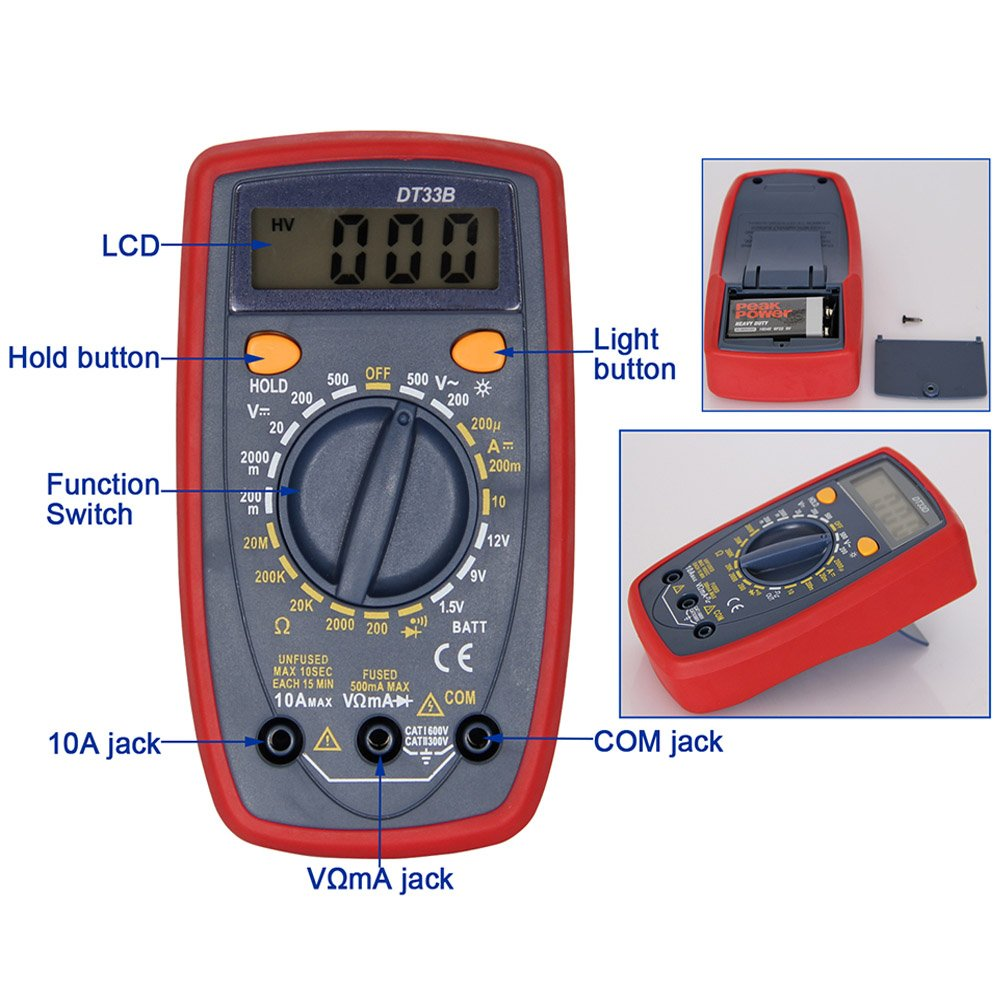 OLSUS DT33B LCD Handheld Digital Multimeter for Home and Car - Red by OLSUS (Image #4)