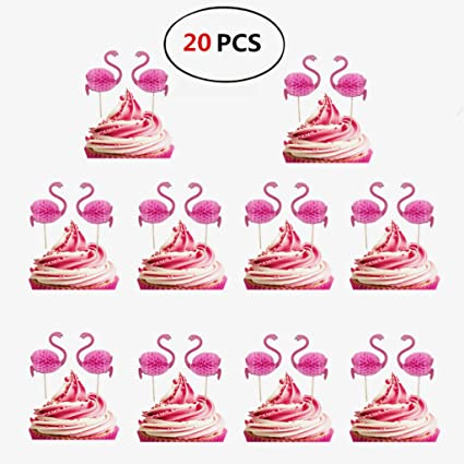 Flamenco Cake Topper Conjunto de 24 Pastel y Torta para la Boda de Hawaii y fiesta