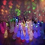 Ohuhu® Striscia Luce Solare 20 LED, Forma Goccia Bolla Cristallo, Luce Rosso Giallo Blu Verde, Impermeabile, 4,8 Metri, Ideale per Decorazione Natale, Addobbi Festa
