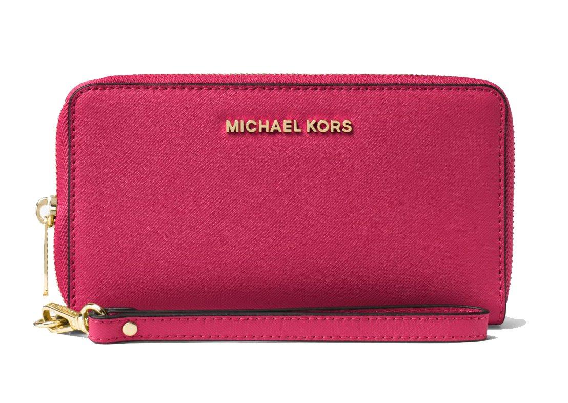 Michael Kors Women's Jet Set Travel Large Smartphone Wristlet (Cranberry)