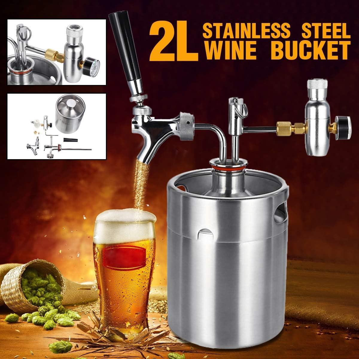 SHIJING 2L Durable Vino Cerveza Elaboración de Cerveza Dispensador de Cerveza Growler Sistema de Barril de Cerveza Mini Barril de Cerveza de Acero Inoxidable con Grifo presurizado