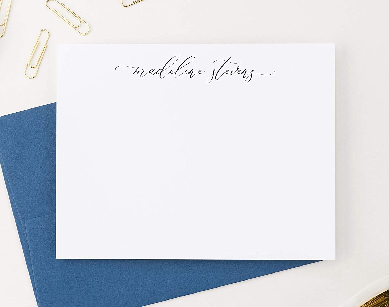 Personalized Stationery for Women Calligraphy Style Your Choice of Colors and Quantity Modern FLAT Note Cards with Envelopes