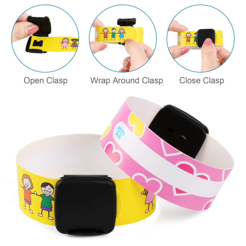 NEWSTYLE Notfallarmband Set f/ür Kinder 12 St/ück Nie verblassen Sos Armband Notfall-Armband Kinder ID Armband Infoband Kinder mit einem speziellen Stift
