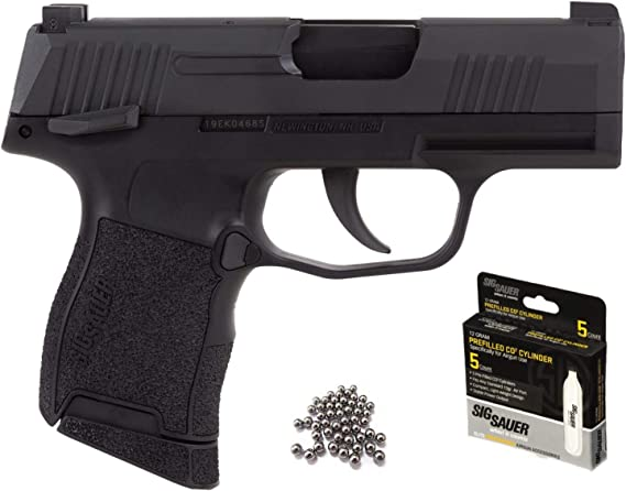 Sig Sauer P365 BB Gun Air Pistol with CO2 12 Gram (5 Pack) and Pack of 100 Airgun .177/4.5mm Steel BBS Bundle