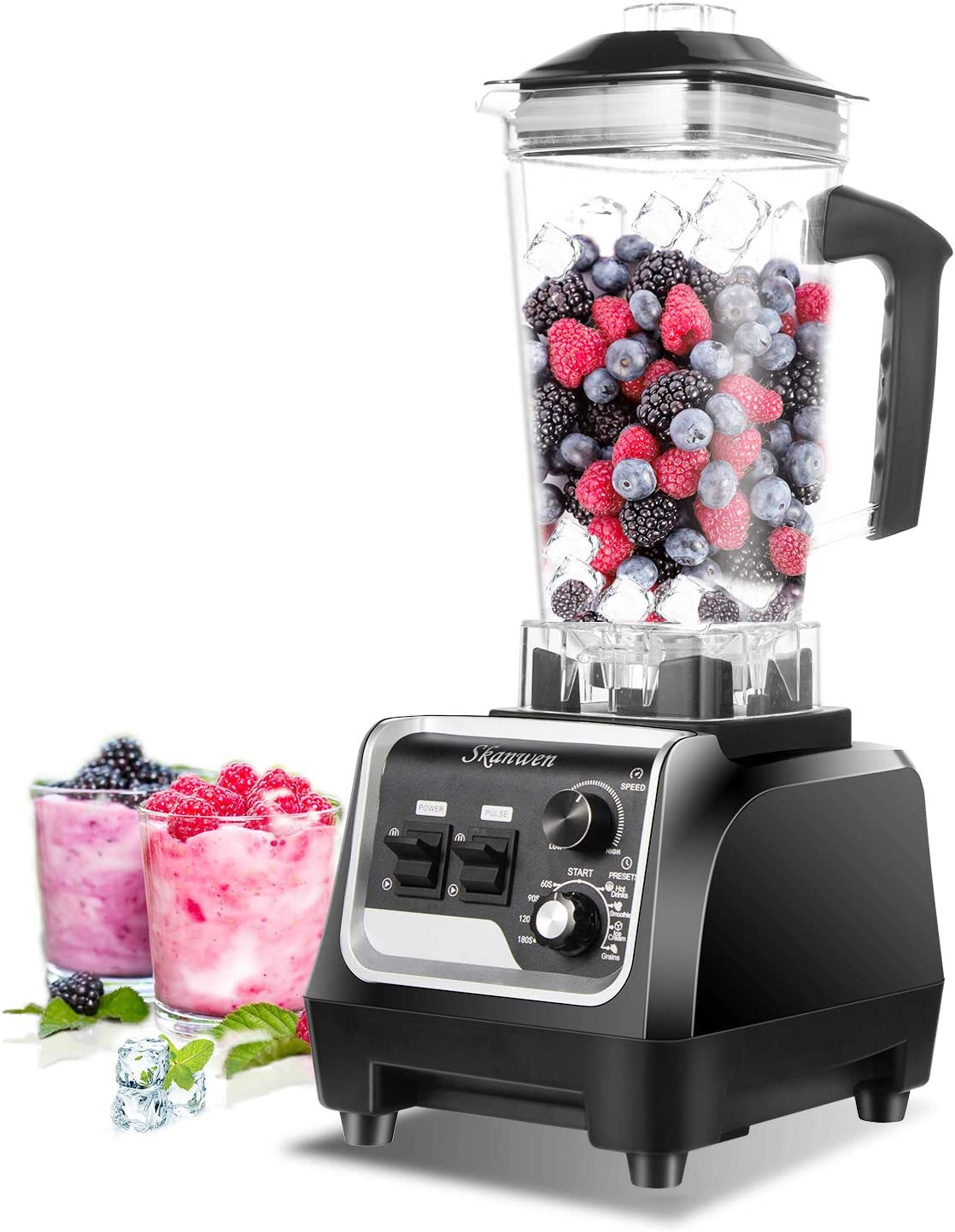 Professional Countertop Blender,SKANMEN 2200W High Speed Smoothie Blender, Commercial blender Crusing Ice ,Built-in Timer ,High Power Blender 2L Cups for Frozen Drinks ,Shakes and Smoothies