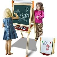 Symiu Pizarra Infantil Caballete Pintura para Niños 3 EN 1 Pizarra Magnética Ajustable Juegos con Tarjetas Magnéticas y…