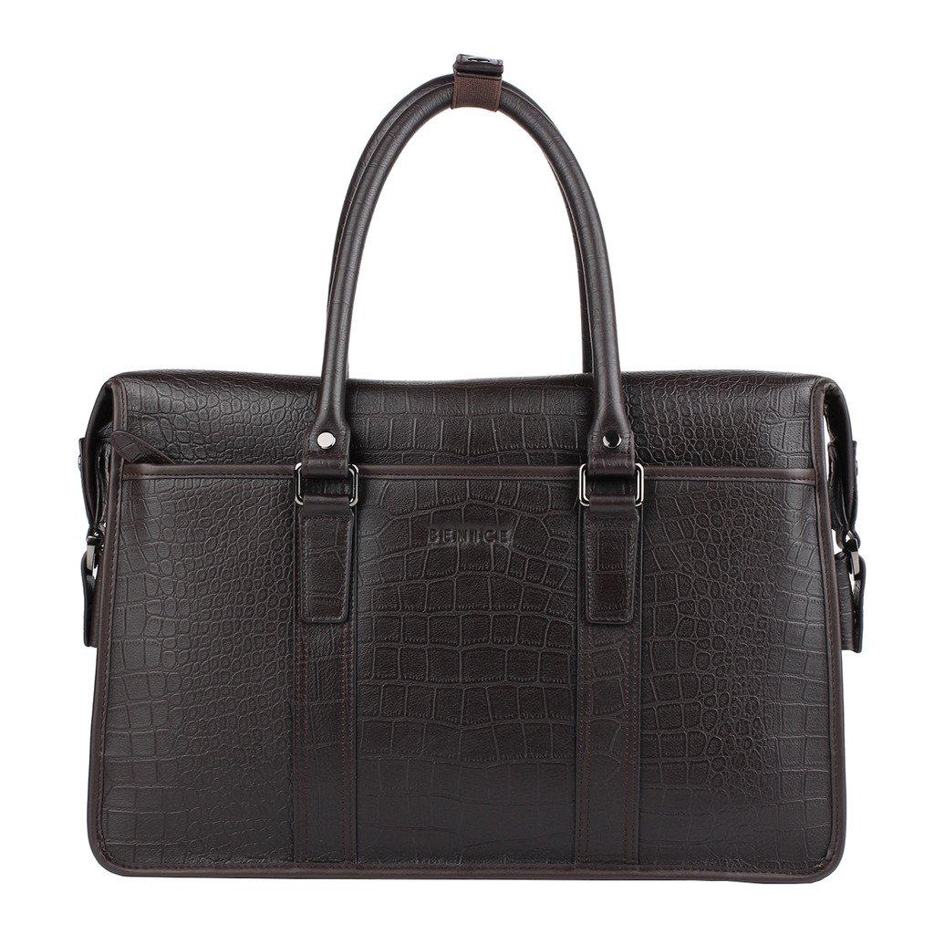 Banuce Men Black Genuine Leather Briefcase Business Travel Bag Shoulder Messenger Bag RTBM001-BK