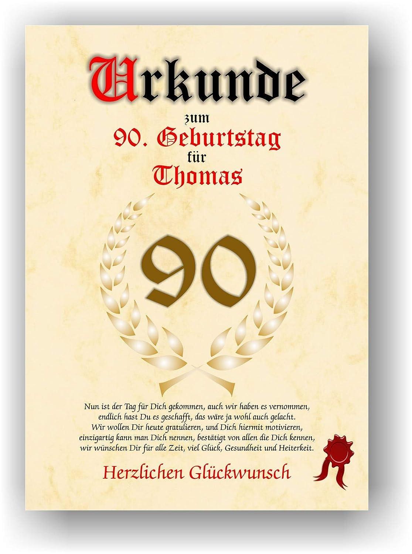 Urkunde zum 90. Geburtstag - Glückwunsch Geschenkurkunde personalisiertes Geschenk Gedicht Grußkarte Geschenkidee mit Spruch DIN A4 C.K. Onlinehandel 399-Urkunde 90 Geburtstag