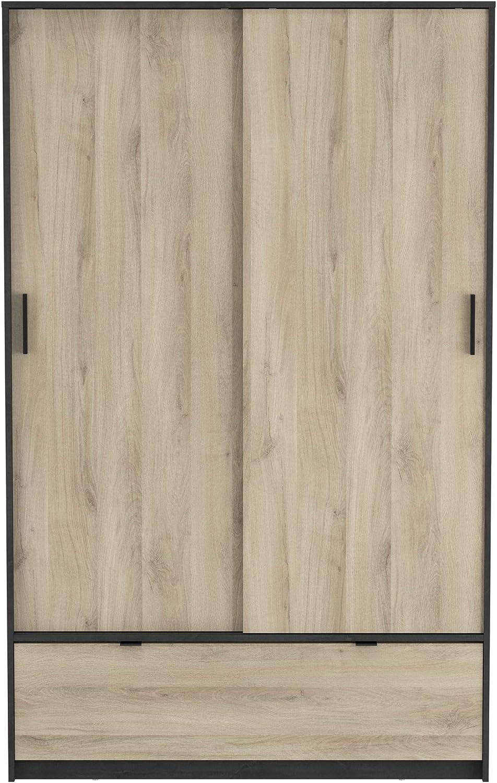 DEMEYERE Armario ropero 2 Puertas correderas 1 Cajon habitacion Dormitorio vestidor Estilo Industrial 193x120x55 cm: Amazon.es: Hogar