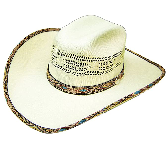 Image Unavailable. Image not available for. Colour  Modestone Bangora Straw  Cowboy Hat Native Pattern Fabric Hatband Brim Edge White d5cd92263e2e