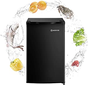 MOOSOO Compact Refrigerator, 3.2 Cu Ft Mini Fridge with Freezer, Compact Small Refrigerator with Energy Saving and Low noise, Ideal for Bedroom, Kitchen, Office and Dorm, with Adjustable Temperature, UL, CSA, DOE Certificated