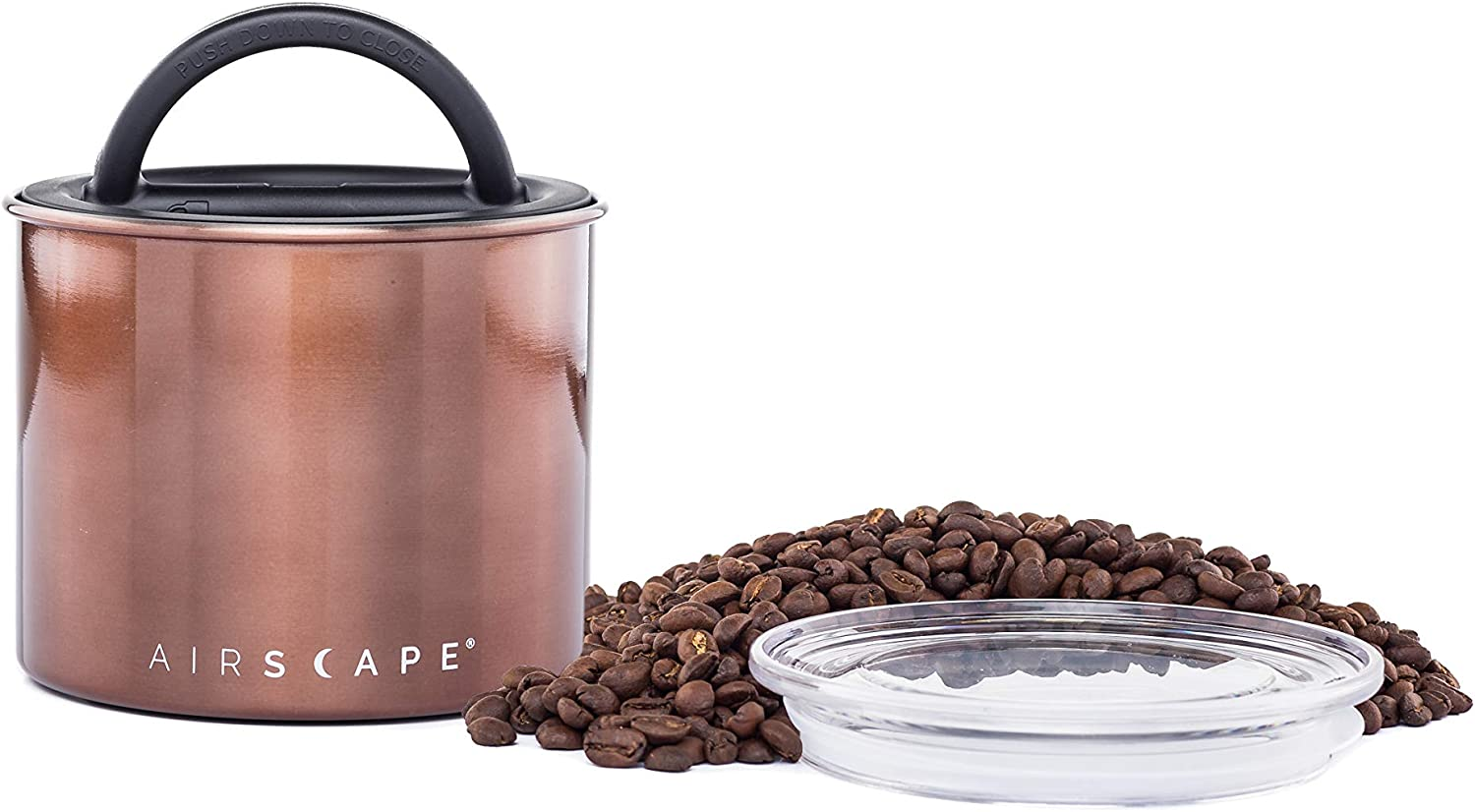 Airscape Coffee and Food Storage Canister - Patented Airtight Lid Preserve Food Freshness, Stainless Steel Food Container, Mocha Brown, Small 4-Inch Can