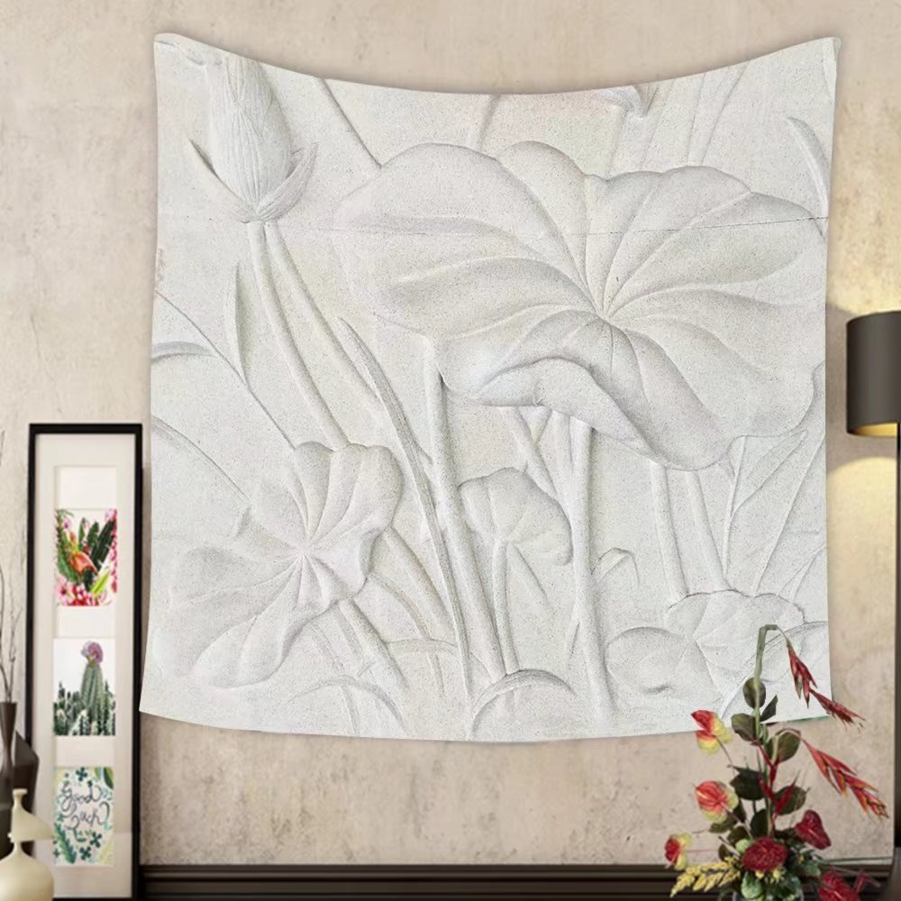 Madeleine Ellis Custom tapestry low relief cement thai style handcraft of lotus flower by Madeleine Ellis