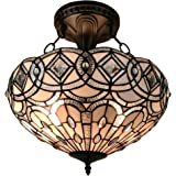 Amora Lighting AM231HL16 Tiffany Style Semi Flush Mount Ceiling Fixture 16 In Wide