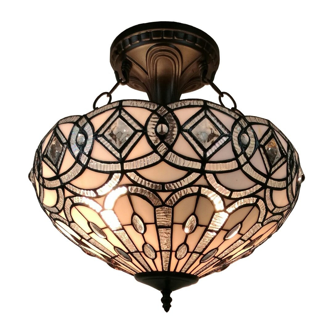 Amora Lighting AM231HL16 Tiffany Style Semi Flush Mount Ceiling Fixture 16 in Wide